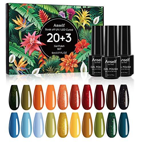 Gel colorati, Anself 20 Gel colorato + Base Coat + Top Coat + Set smalto gel per manicure Top Coat opaco, Kit per smalto per unghie, Colla per unghie UV/Led Lampada Kit per smalto per unghie