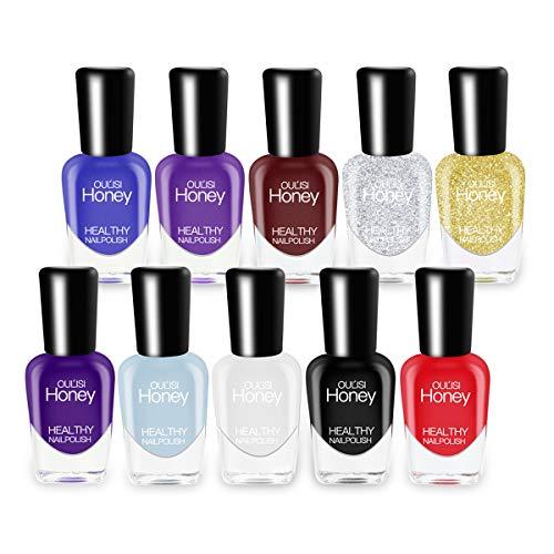 Abitzon New Nail Polish Set (10 Bottles) - Smalto per unghie non tossico ecologico Easy Peel Off e Quick Dry a base d'acqua