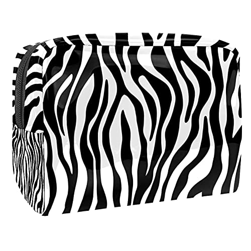 Makeup Bag for Purse PVC Travel Cosmetic Pouch Black White Toiletry Bag for Women Girls Gifts Portable Water-Resistant Daily Storage Organizer 7.3x3x5.1 Inch
