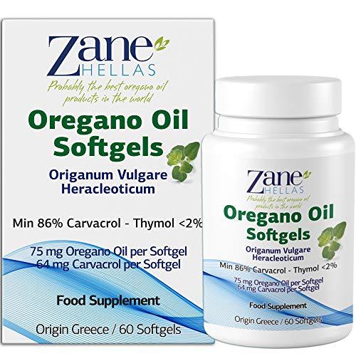 Zane Hellas Olio di origano di alta qualità Softgels. Forza extra. Ogni Softgel Contiene il 15% di Olio Essenziale Greco Puro di Origano. 64 mg di Carvacrolo per Softgel. 60 softgel.