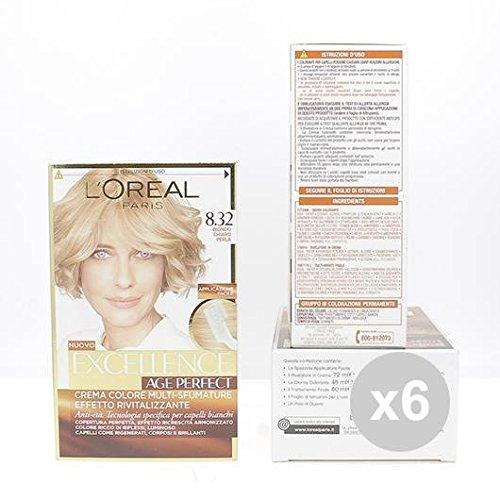 Set 6 EXCELLENCE Age Perfect 8,32 Biondo Chiaro Colore Permanente Tinta per capelli