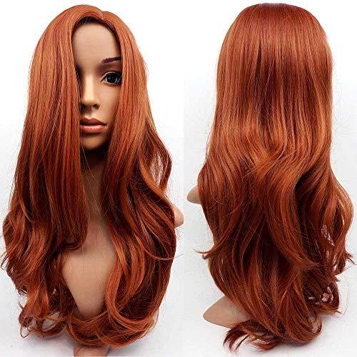TONGXU - Parrucca da donna in pelle sintetica con mix di zenzero color castano