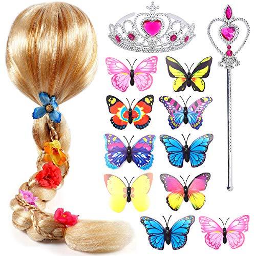 Qixuer 1 Pezzo Principessa Rapunzel Parrucca Treccia con 1 Pezzo Principessa Diadema Bacchetta Magica e 10 Pezzo Farfalla Spille Vestito Accessori per Festa di Compleanno Carnevale Cosplay Party