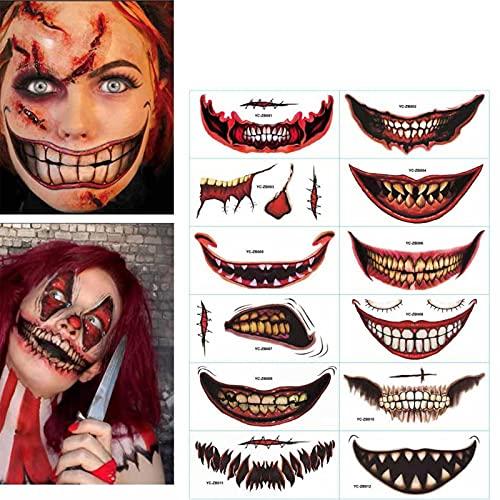 Lamptti 12 Pezzi Adesivi Tatuaggio temporaneo di Halloween, Bocca Grande Orrore Joker Bocca Labbra Tatuaggi Adesivi temporanei per Halloween, Cosplay, Costumi, Accessori per Feste