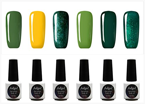 Joligel Kit di 6 smalti in gel per unghie soak-off, da 7,3 ml, asciugatura UV/LED, colori semipermanenti, per manicure/pedicure, resina naturale non tossica, Nail Polish Art, multicolore verde fresco