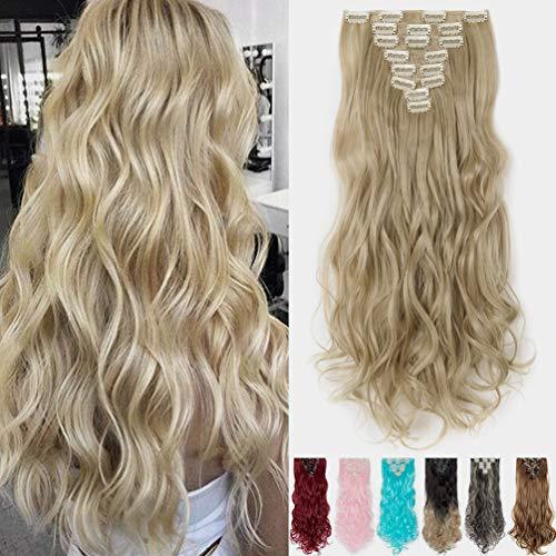 8 Pcs Extension Capelli Clip Sintetiche Full Head Clip in Extension Capelli 43cm Lunghi Ricci Ondulati Ash Blonde mix Bleach Blonde