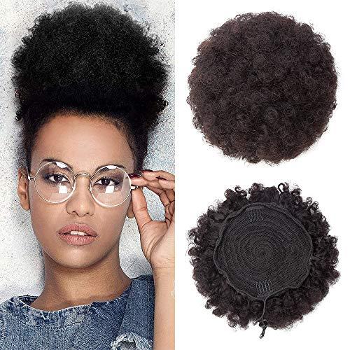 Elailite Chignon Capelli Veri Afro Ricci Extension Elasitco Fermacoda 100% Remy Human Hair Bun Ciambella 18cm/D Peso 66gr Coda Toupet - #1B Nero Naturale