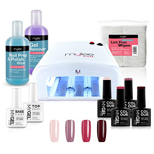 Mylee Kit per manicure UV, Lampada UV per smalto unghie gel semipermanente, 4 Colori MYGEL, Base e Top Coat, Nail Prep & Wipe, Gel Remover, 100 salviette senza pelucchi