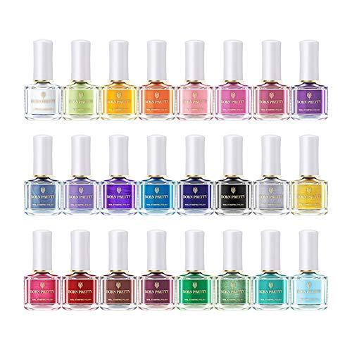 BORN PRETTY 6ml nail art stamping Polish Candy color manicure piastra Printing lacca vernice 24 colori set