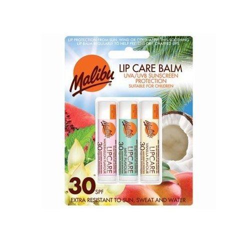 Malibu, balsamo labbra in blister, protezione SPF30, anguria, menta, vaniglia, 12 ml