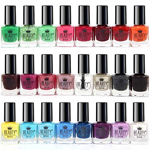 Splash, set di 24smalti per unghie in 24 vari colori, asciugatura rapida, pennello piatto (set A)