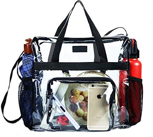 Borsa trasparente approvata dallo stadio, borsa trasparente per lavoro, giochi sportivi e concerti - 30 cm x 30 cm x 15 cm (nero)