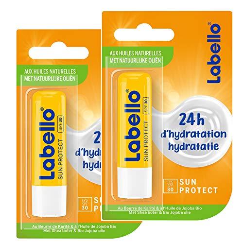 Nivea Sun Labello Protezione solare FPS 30 (2 x 5,5 ml), stick labbra protezione UVA/UVB e idratazione 24 h, balsamo per labbra al burro di karité e olio di jojoba bio