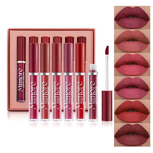 Mimore Rossetto Kit lucidalabbra per rossetto liquido opaco 6 pezzi / set Kit regalo rossetto liquido per cosmetici a lunga durata impermeabile (01)