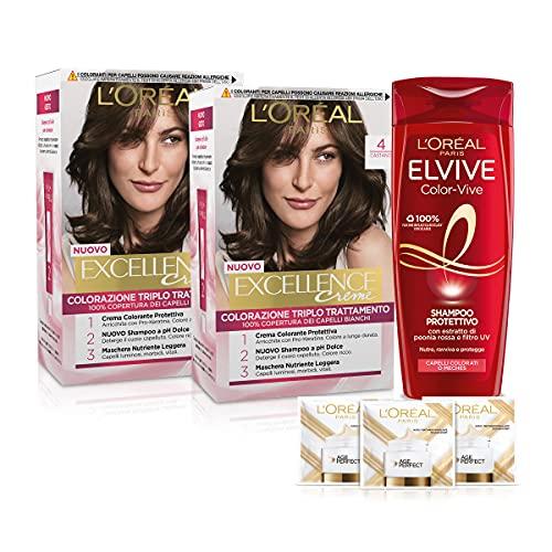 L'Oréal Paris Cofanetto Colorazione Color&Care, Include 2 Tinta Capelli Excellence Castano 4 e 1 Shampoo per Capelli Colorati Elvive Color Vive