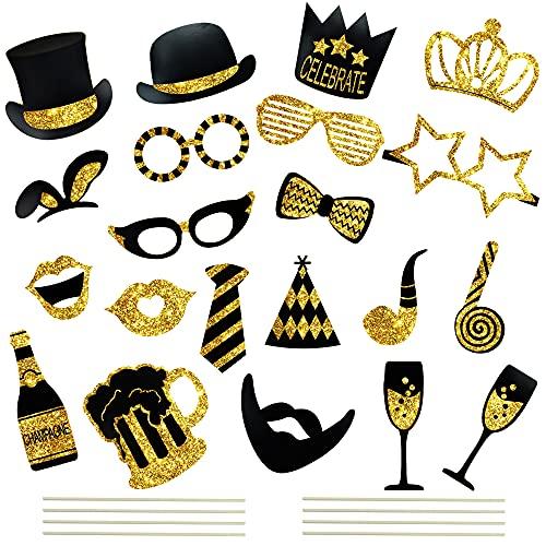 Photo Booth, 22 Pezzi Foto Props DIY Photo Booth Compleanno Accessor Creativo Divertente di Cappello Cravatta Baffi ecc per Festa Matrimonio Compleanno (Type-A)