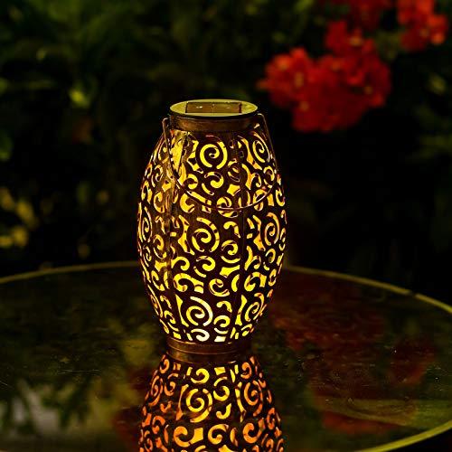 Viugreum Lanterna da Esterno, Lanterna Solare Esterno IP44 Impermeabile Lanterne da Giardino Lanterna Lampada Solare Luci Decorative per Patio, Feste, Halloween, Natale, Aperto, Cortile Passerella