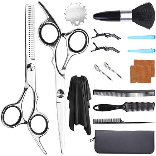 DaiWeier 17 in 1 Forbici Parrucchiere Professionali Kit per Taglio dei Capelli per Sfoltire i Capelli Taglia Capelli per Uomo Donna