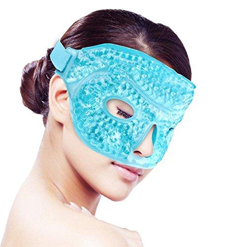 Maschera di viso/occhi per Dormire banchisa, Impacco di ghiaccio,caldo/freddo Terapia a freddo caldo per dolore facciale,Gonfiore, Emicrania,Mal di testa,Sollievo dallo stress[Blu]