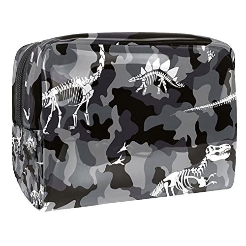 Camouflage Dinosaur Fossil Makeup Bag Organizzatore Multifuncition Viaggio Impermeabile Toiletry Bag con Cerniera per le donne