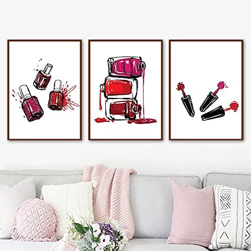 Salone di moda Bottiglia di smalto per unghie Vogue Wall Art Canvas Painting Nordic Poster e stampe Immagini a parete per Girl Room Decor-30X50cmx3/senza cornice
