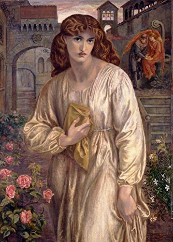 World of Art Dante Gabriel Rossetti Salutation Beatrice, Dettaglio C1859250gsm Lucido Arte della Riproduzione A3Poster