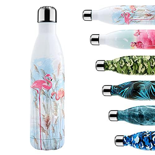 Enlifety Bottiglia Acqua in Acciaio Inox, 750ML Borraccia Termica, Isolamento Sottovuoto a Doppia Parete, Bottiglia d'Acqua Sportive per Bambino, Uomini, Donne, Weed Flamingo