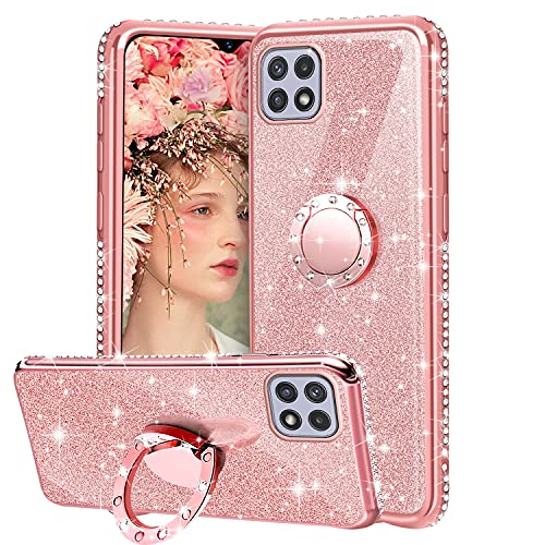 XTCASE Cover Glitter per Samsung Galaxy A22 5G, Custodia Brillantini Diamanti con Supporto Girevole a 360 Gradi, Ultra Sottile Morbid TPU Silicone Antiurto Protettiva Case, Rosa