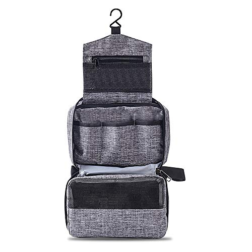 Beauty Case da Viaggio , Impermeabile Elegante Beauty Case Donna Uomo Ragazzina Appendibile Doccia 3 Compartment Mini Trousse Make Up Bag Portatile Toiletrybag Grande Wash Bag(Grigio)