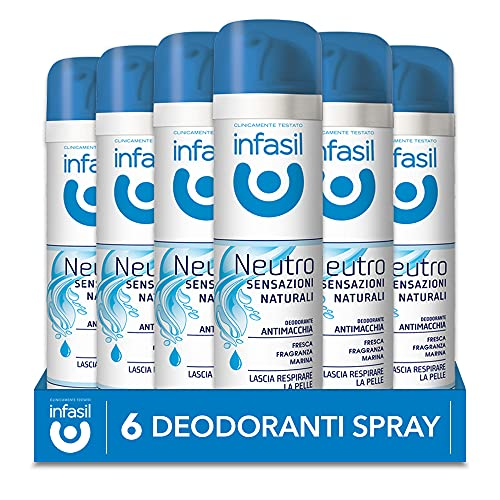 Infasil Deodorante Spray Neutro Sensazioni Naturali Fragranza Marina, Antimacchia, Senza Sali di Alluminio, 6 Deodoranti da 150 ml
