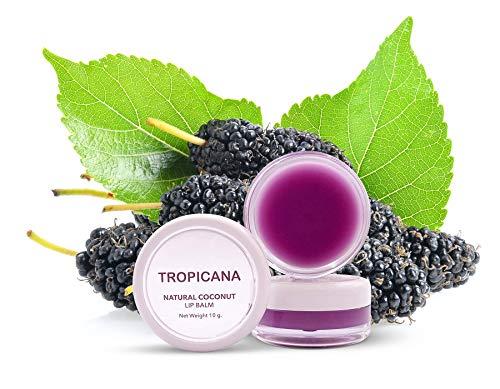 Tropicana Oil Premium - Balsamo per labbra Mulberry Cheerful 10 g, olio di cocco naturale pressato a freddo