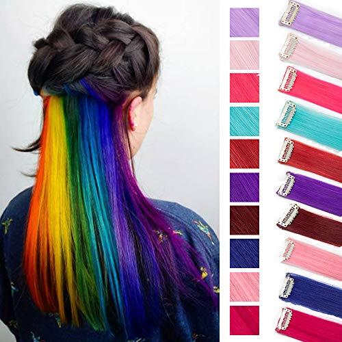SEGO Extension Clip Capelli Colorati 10 Ciocche Extensions Colorate da Donna Bambina 55cm per Feste Cospaly Set da Multi Colori (10 Colori, Lisci 100g)