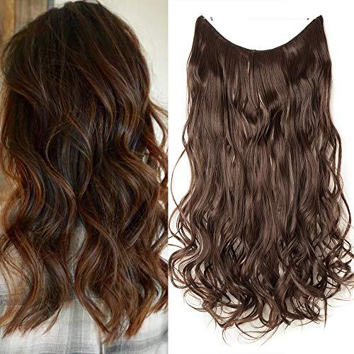 Elailite Extension Capelli con Filo Invisibile Fascia Unica Elastica Hair Finti 60cm # Marrone Cioccolato