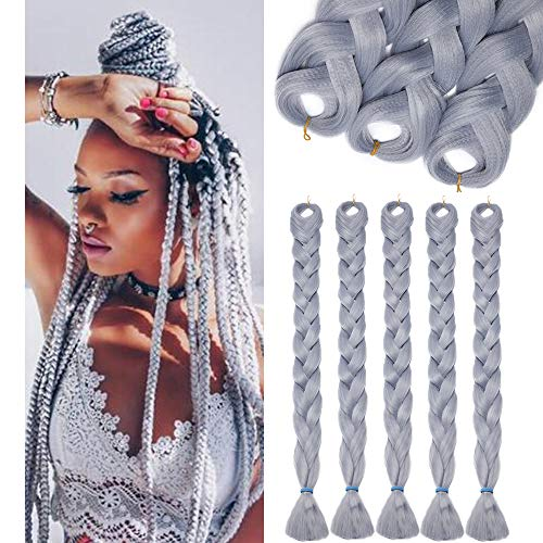 SEGO Treccia Finta per Treccine Africane Extension Capelli Fibre Lunghe 104cm Afro Braiding Hair Ombre Colorate Donna Bambina 825g, 5 Ciocche/Set, Grey Grigio