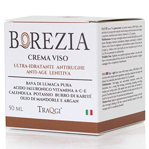 Crema Viso Bava di Lumaca e Acido Ialuronico BIO *omaggio Contorno Occhi 5 ml* Antirughe Antiage Per Macchie E Cicatrici Acne Collo E Decollete Base Make Up 100% Made In Italy