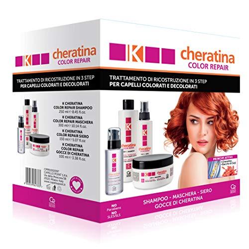 K-Cheratina Kit Color Repair - Trattamento Professionale Capelli Colorati e Decolorati - Contiene lo Shampoo Ricostruzione, la Maschera Antiossidante, il Siero Ristrutturante e le Gocce di Cheratina