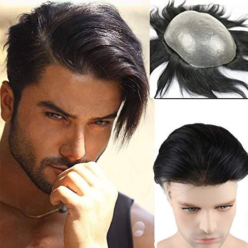 NIULLA Parrucca da Uomo con Sistema di Sostituzione Maschile 100% Capelli Umani Parrucca da Uomo Capelli Lisci,15 * 18cm