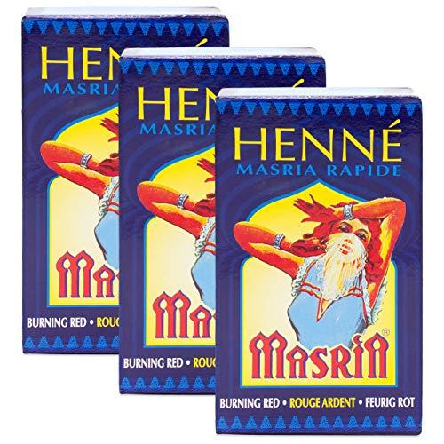 Henna Masria Rosso Fuoco (Rouge Ardent) - Confezione da 3 x 90 gr