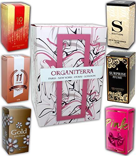 Set di 6 (sei) Profumo per le Donne 15ml ogni. (Eau de Parfum) Vip Edition. In confezione regalo ORGANITERRA®