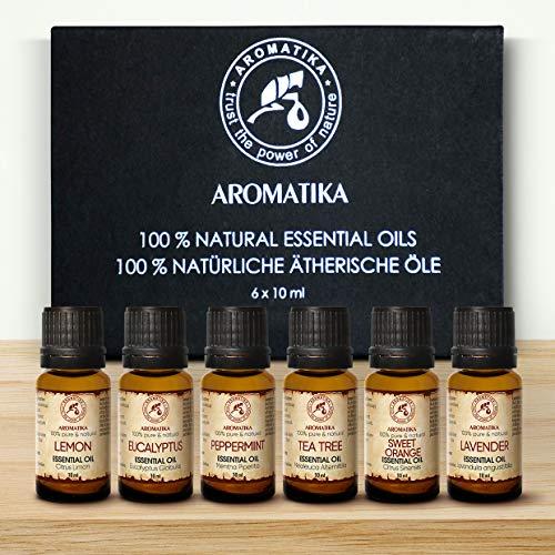 Set Olio Essenziale 6x10ml - Olio di Lavanda - Menta - Eucalipto - Tea Tree - Arancio - Olio Puro al 100% - Bellezza - Cura del Corpo - Oli Essenziali Set