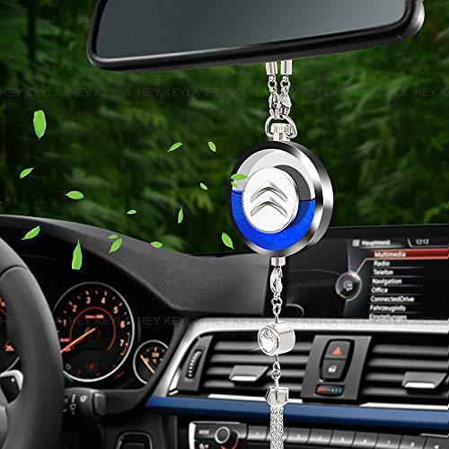 HEY KEYLA Profumo di Logo Auto Emblema Pendente di Cristallo Appeso Specchietto Retrovisore Ornamento Decorativo Deodorante per Rimuovere l'odore dell'auto, per Citro-en