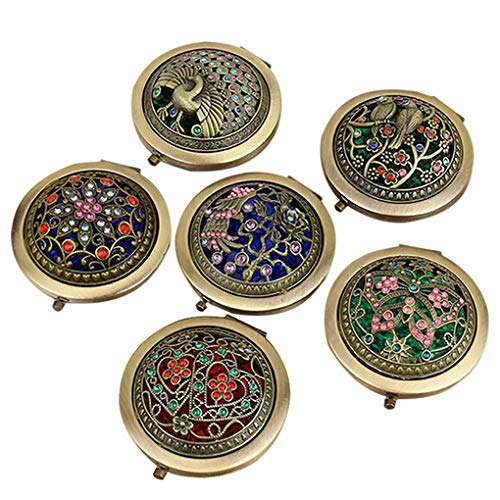 Brussels08 1 pz Vintage portatile portatile Hollow Flower Mini specchio compatto pieghevole rotondo tasca doppio