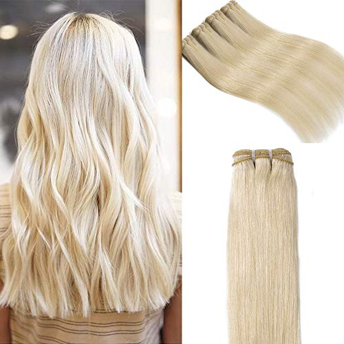 Elailite Extension Tessitura Capelli Veri Matasse Bionde 50cm 100g - 100% Remy Virgin Human Hair Lisci Naturali Umani Brasiliani, 60# Biondo Platino