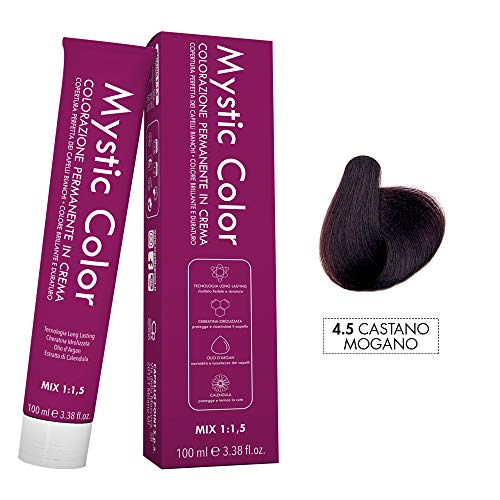 Mystic Color - Colore Mogano 4.5 - Tinta per Capelli - Colorazione Professionale in Crema a Lunga Durata - Con Cheratina Idrolizzata, Olio di Argan e Calendula - 100 ml