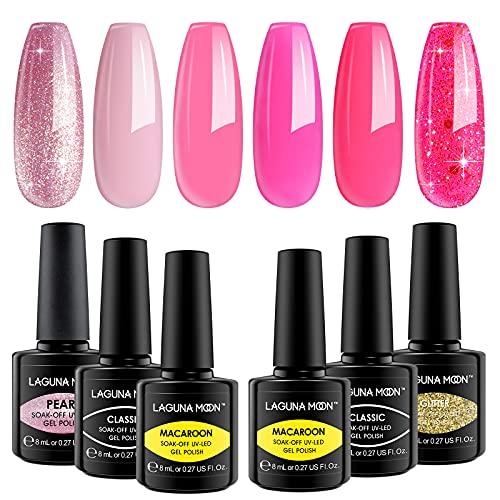 Lagunamoon Smalto per Unghie in Gel uv led, 8ml 6 Colori Kit Vibrazioni Rosa Caldo, Smalto per Unghie Soak off per Manicure fai Da Te e Uso in Salone