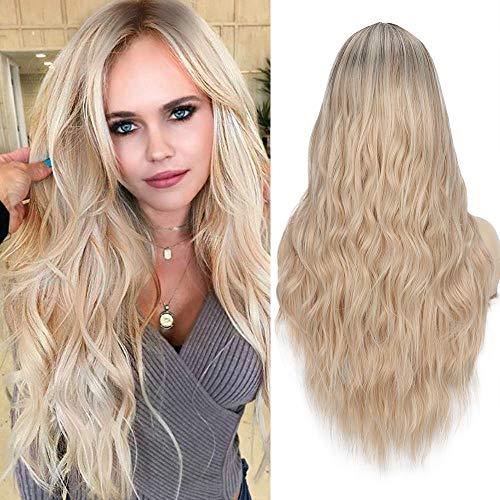 YEESHEDO Parrucca Biondo Ombre Lunga Ondulata per Donne, Moda Bionda Ricci Lungo Capelli Naturale Sintetica Parrucche, Blonde Wig 26 pollici (Biondo chiaro)