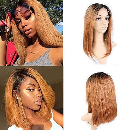 TOOCCI Parrucca Donna Capelli Umani Wigs Human Hair Straight Short Bob Wig Natural and Brown Color 1b30 Brasiliani Vergini Veri Glueless 4x4 Lace Front Wig with Natural Hairline 14inch