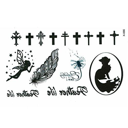 Justfox – Tatuaggio temporaneo con piccola fatina elfo piuma