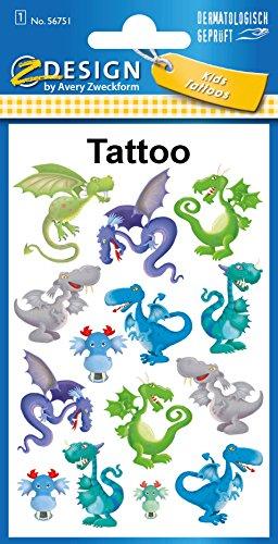 Avery Zweckform Tatuaggi 76X 120mm parati 1BG, motivo: drago