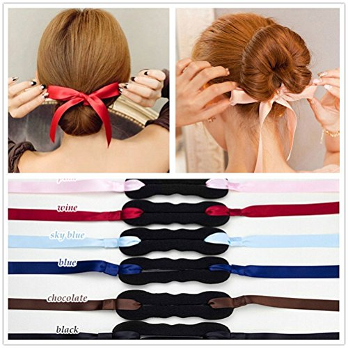 3 nastri per chignon con anelli per raccogliere i capelli; fascia per capelli, ideale per creare chignon